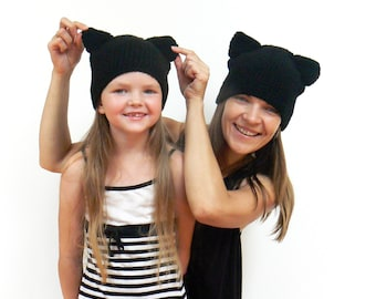 Cat Beanies, Mother Daughter Hats, Mommy and Me, Crochet Cat Hat, Matching Outfit, Black Cat Hat, Cat Ears Hat, Women Hat, Mothers Day Gift