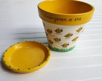 Teacher Gift - Painted Flower Pot - Bumble Bee Planter - Gift from Students - End of Year Teacher Gift - Teacher Christmas Gift