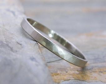 Narrow Hammered White Gold Wedding Ring - 2mm Solid 14k Wedding Band - Choose Matte or High Polish