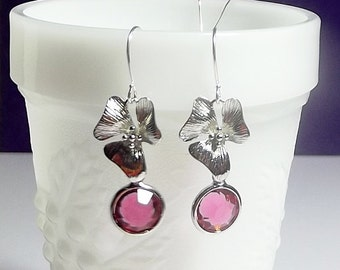 Rose Pink Orchid Flower Drop Earrings, Bridesmaid Gift, Mothers Day Christmas Gift, Dangle, Mom Sister Grandmother Jewelry