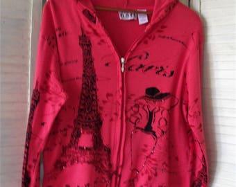 Hoody Jacket/ Paris Motif/ Zip Jacket/ Cotton Stretch Jacket/ Funky Funwear/ Thrifted Chic/ Size Large/ Shabbyfab Funwear/ Retro Thrift