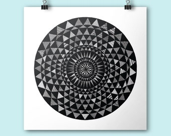 Sun / Art print / 21x21 cm print / Square print / Illustration / Contemporary art / Black and white / round illustration