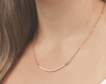 Gold Pearl Necklace Tiny Pearl Bar Necklace layered necklace Delicate Bead gold filled necklace blush wedding jewelry.