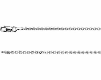 Sterling Silver Diamond Cut Cable Chain, 18 inches Long 1.75 mm  - CH125-18