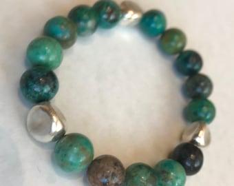 Chrysocolla and Fine Silver Bracelet