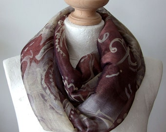 Ornamental floral  Infinity scarf, feminine chiffon scarf, wine brown loop scarf, circle scarf, gift under 20 dollars, spring fashion