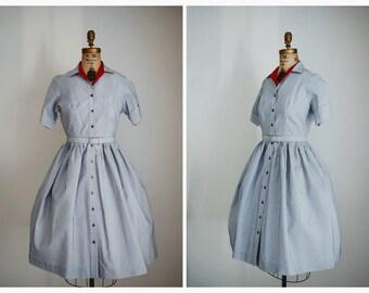 1950s Vintage Nautical Dress | 50s Blue & White Swing Dress