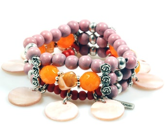 Beaded bracelet pink, orange and coral red - shell pendants - Ibiza, hippie, beach style - unique handmade jewelry - SALE jewelry