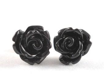 Black Rose Earrings Surgical Steel Posts for Sensitive Ears Black Flower Earings Gothic Jewelry Rose Stud Earrings Gothic Earrings for Teens