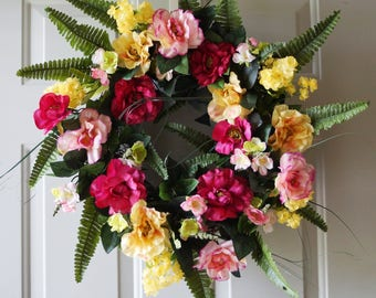 Roses Wreath, Spring Wreath, Summer Wreath, Grapevine Wreath, Front Door Wreath