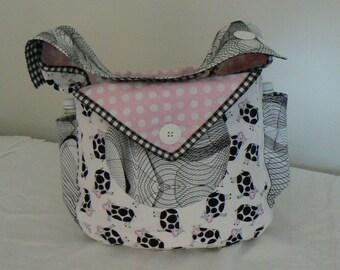 Diaper Bag, Carryall, Shabby Chic, Baby Bag, Nappy, Girl, Cows, Handmade,