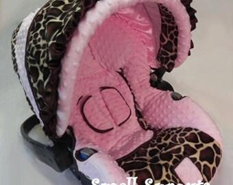 Custom Boutique Giraffe Light Pink Minky Infant Car Seat Cover 5 piece set