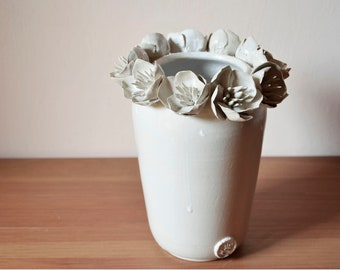 Tall stoneware vase in white with anemones -  Handmade Ceramics  - Stoneware -