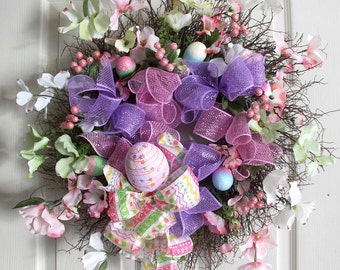 Easter Wreath, Easter Egg Wreath, Spring Wreaths, Easter Decoration, Front door Wreaths, wreath for front door, wreathe,deco mesh