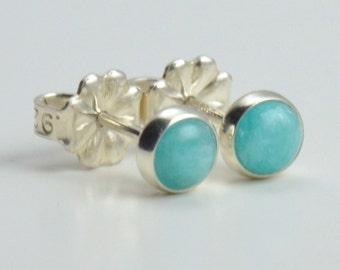 amazonite 4mm sterling silver stud earrings