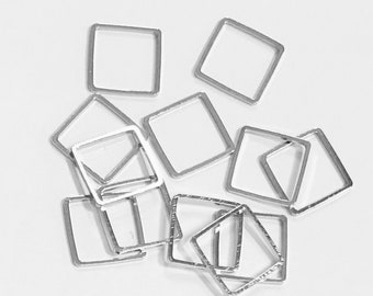 50 pcs of Antique Silver plated brass square links 12mm