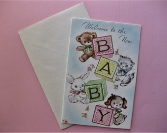 Vintage New Baby Greeting Card, for Boy or Girl, Unused