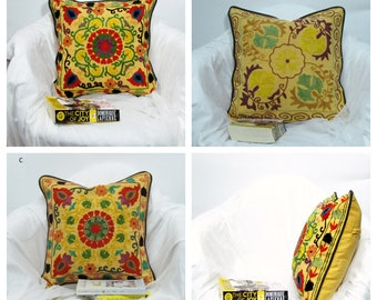 Cotton Cushion/Pillow Cover Embroidered,16 x 16 inches.mustard,red,green details floral motif,Suzani pillow case.