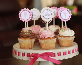 Ice Cream Shoppe- Cupcake Toppers