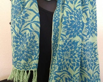 Block print Rayon scarf. One-of-a-kind wearable art.  Emerald green with  blue dahlias with fringe.