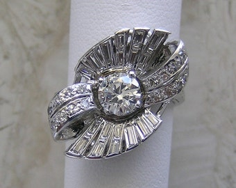 Antique Diamond Engagement Ring Platinum Unusual Design Circa 1940