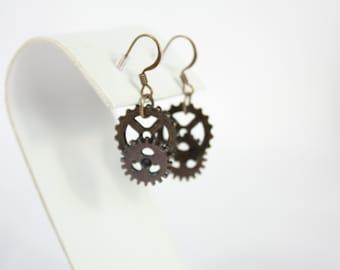 steampunk earrings with  gears