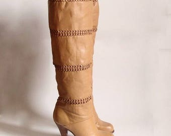 1970's Leather knee high boots