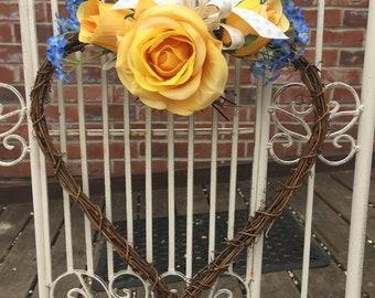 Twiggy Heart Wreath with Yellow Silk Flowers