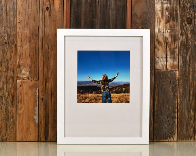 """11x14"""" Picture Frame in 1x1 Flat Style with Solid White Finish - Can Be Any Color - Modern White 11 x 14 Photo Frame - Gallery Frame 11x14"""
