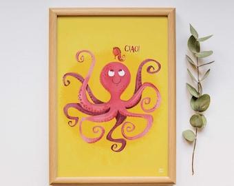 Oktopus Druck, Seepferdchen Druck, Oktopus-Plakat, Meer Lebenskunst, Meer Kindergarten, Ozean Druck, Meer-Kinderzimmer-Kunst, Ozean Poster, Meer kinderzimmerdekor,