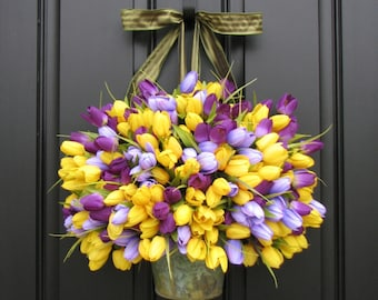 Tulip Wreaths, Artificial Tulip Wreath, Purple Tulip Wreath, Yellow Tulips, Tulip Bouquets, Farmhouse Tulip Wreaths, Farmhouse Tulip Bucket