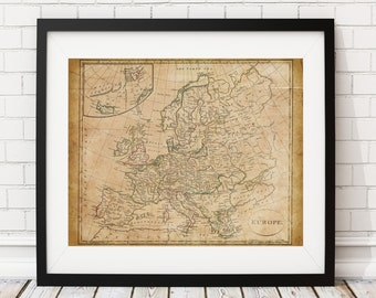 Europe Map Print, Vintage Map Art, Antique Map, Wall Art, History Gift, Old Maps, Spain, France, Germany, Italy, Map of Europe, Map Art