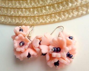 Pink Earrings Polymer Clay, Pink Flower Earrings, Pink Flower Jewelry, Floral Farrings, Floral Jewelry, Pink Earrings, Playful Earrings