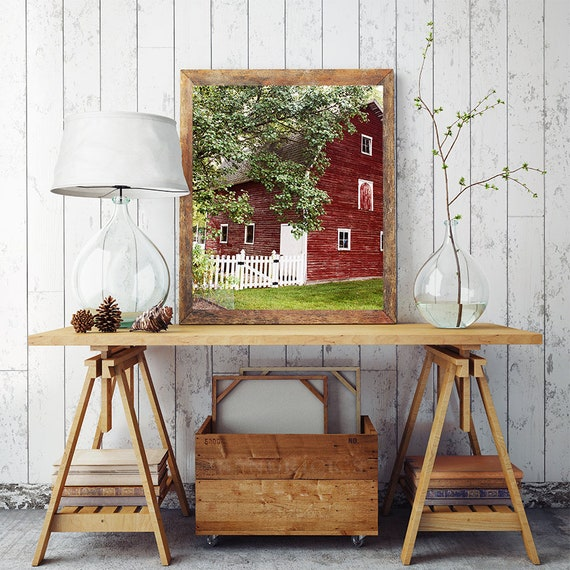 Barn Print, Fixer Upper Decor, Country Summer Art, Red Barn Photo, Cindy Taylor Photography