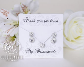 Earring & Pendant Bridesmaid Set, Bridesmaid Gifts,Bridesmaid Earrings,Personalized Message for Bridesmaids, Bridal Earrings,Wedding Jewelry