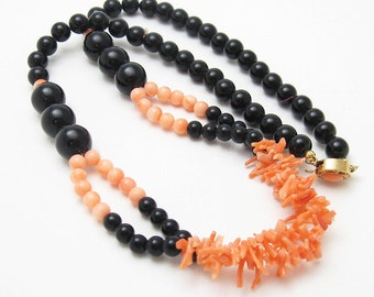 Simulated Branch Coral Necklace Vintage Costume Jewelry