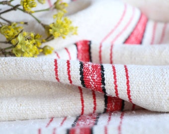 SP 33: antique, linen, faded STRAWBERRY Red BLACK 11.14 yards, tablerunner, curtains, cushions ; wedding, decoration, vintage linen,