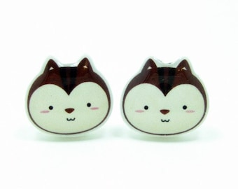 Small Chipmunk Earrings   Sterling Silver Posts Studs   Gifts For Her