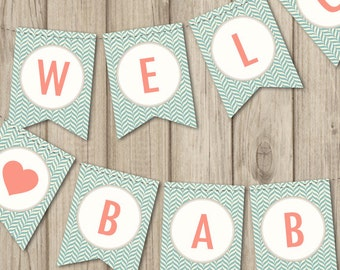 BABY SHOWER BANNER - Welcome Baby Banner - Printable Baby Shower Banner