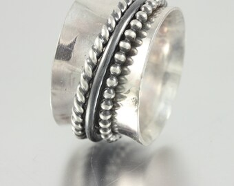 Sterling Spinner Ring with Beaded, Wire and Twisted Wire Sterling Spinners - Anxiety Ring, Fidget Ring, Stress Ring, Meditation Ring