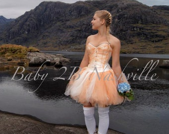 Peach and Ivory Adult Tutu Above the Knee Length Wedding Tutu All Sizes
