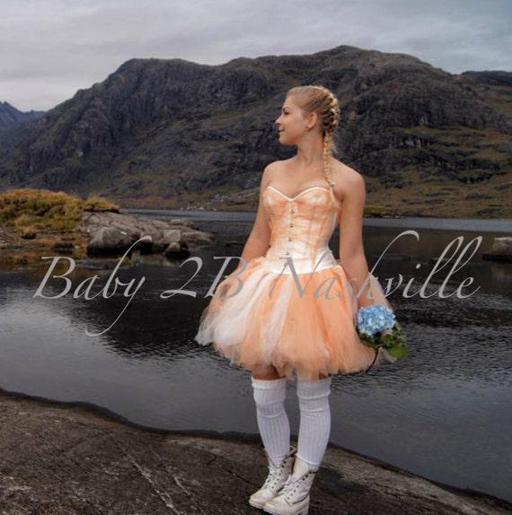 Peach and Ivory Adult Tutu Above the Knee Length Wedding Tutu All Sizes