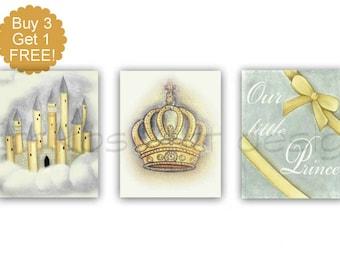 Castle Art Print, Baby Boy Nursery, Crown Art, SET 3, Yellow Gray, Prince Nursery Decor, Crown Print, Nursery wall art, Castle wall art