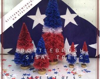 4th of July  (Larger) Bottlebrush Trees ( Set of 5 ) Red White & Blue
