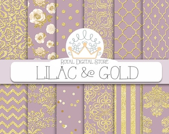 "Purple digital paper: ""LILAC & GOLD"" with purple and gold background, purple scrapbook paper, gold patterns, gold damask for scrapbooking"