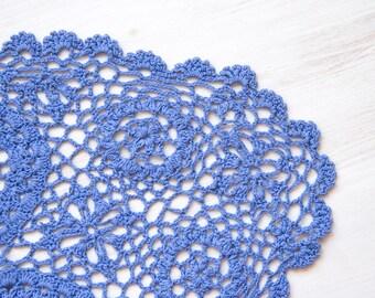 Lavender oval Crochet Doily hand dyed vintage Doily