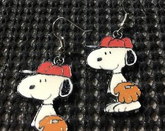 Snoopy Baseball Earrings