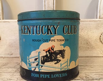 Vintage Tobacco Tin - Kentucky Club - Rustic, Man Cave Decor