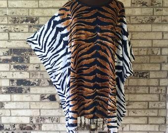 Plus Size Lightweight Animal Print Rayon Tunic