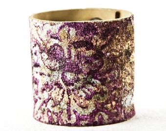 Holiday  Leather Jewelry For Women Cuffs Bracelets Floral Purple